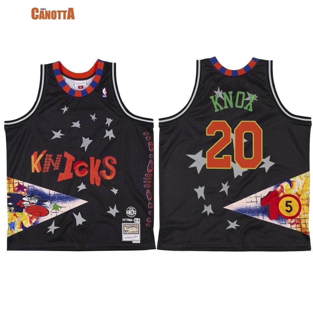Replica Maglia NBA New York Knicks NO.20 Kevin Knox X BR Remix Nero Hardwood Classics