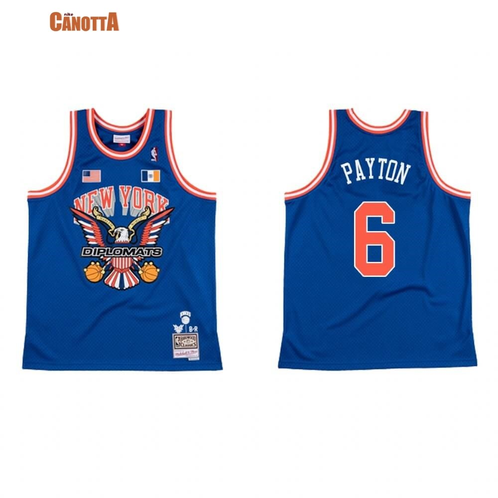 Replica Maglia NBA New York Knicks NO.6 Elfrid Payton BR Remix Blu Hardwood Classics