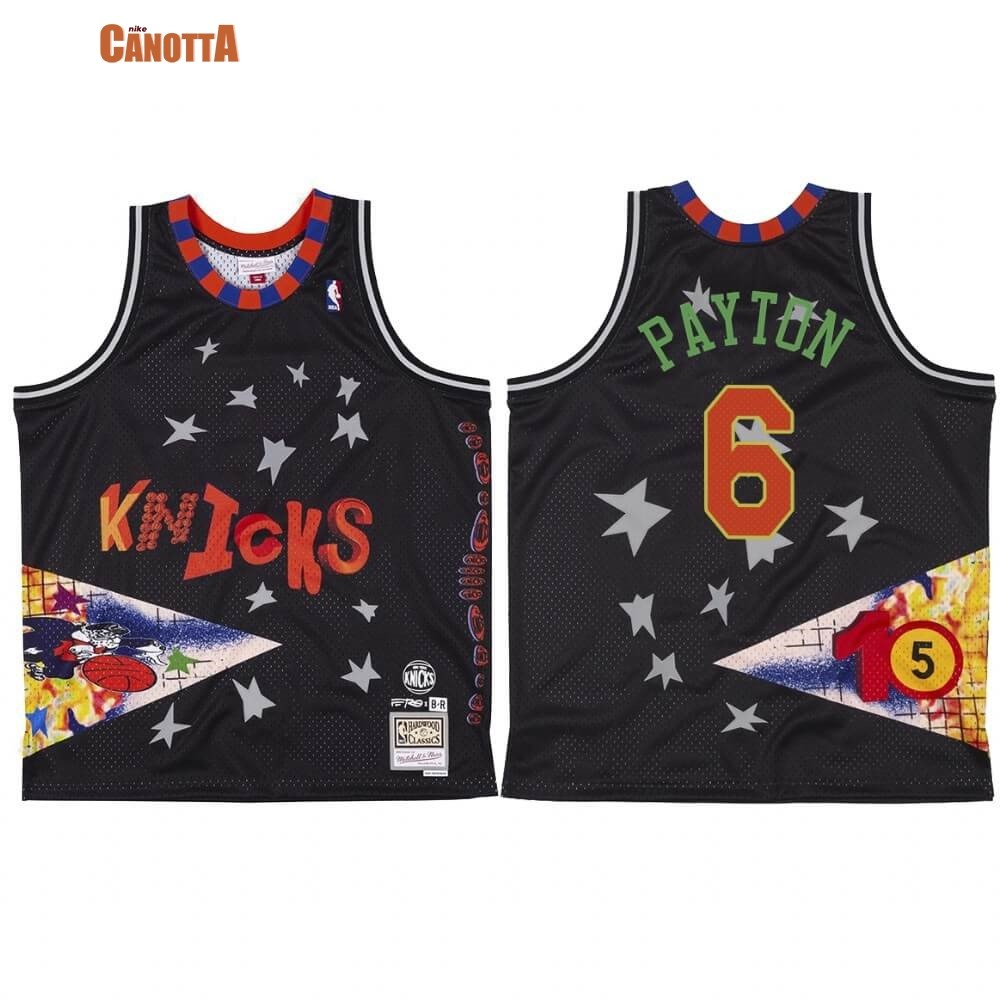Replica Maglia NBA New York Knicks NO.6 Elfrid Payton X BR Remix Nero Hardwood Classics
