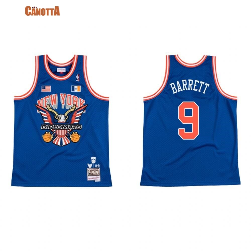 Replica Maglia NBA New York Knicks NO.9 R.J. Barrett BR Remix Blu Hardwood Classics