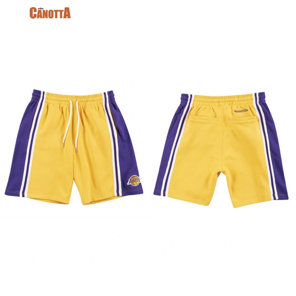 Replica Pantaloni Basket Los Angeles Lakers French Terry Giallo 2020