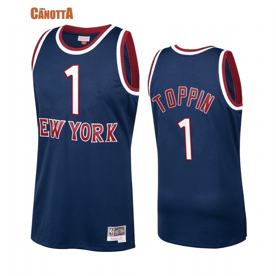Replica Maglia NBA New York Knicks NO.1 Obi Toppin Marino Hardwood Classics