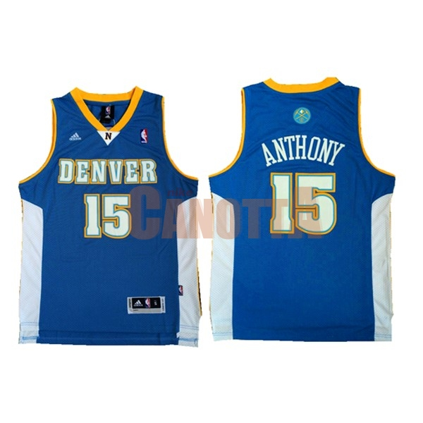 Replica Maglia NBA Denver Nuggets NO.15 Carmelo Anthony Retro Blu