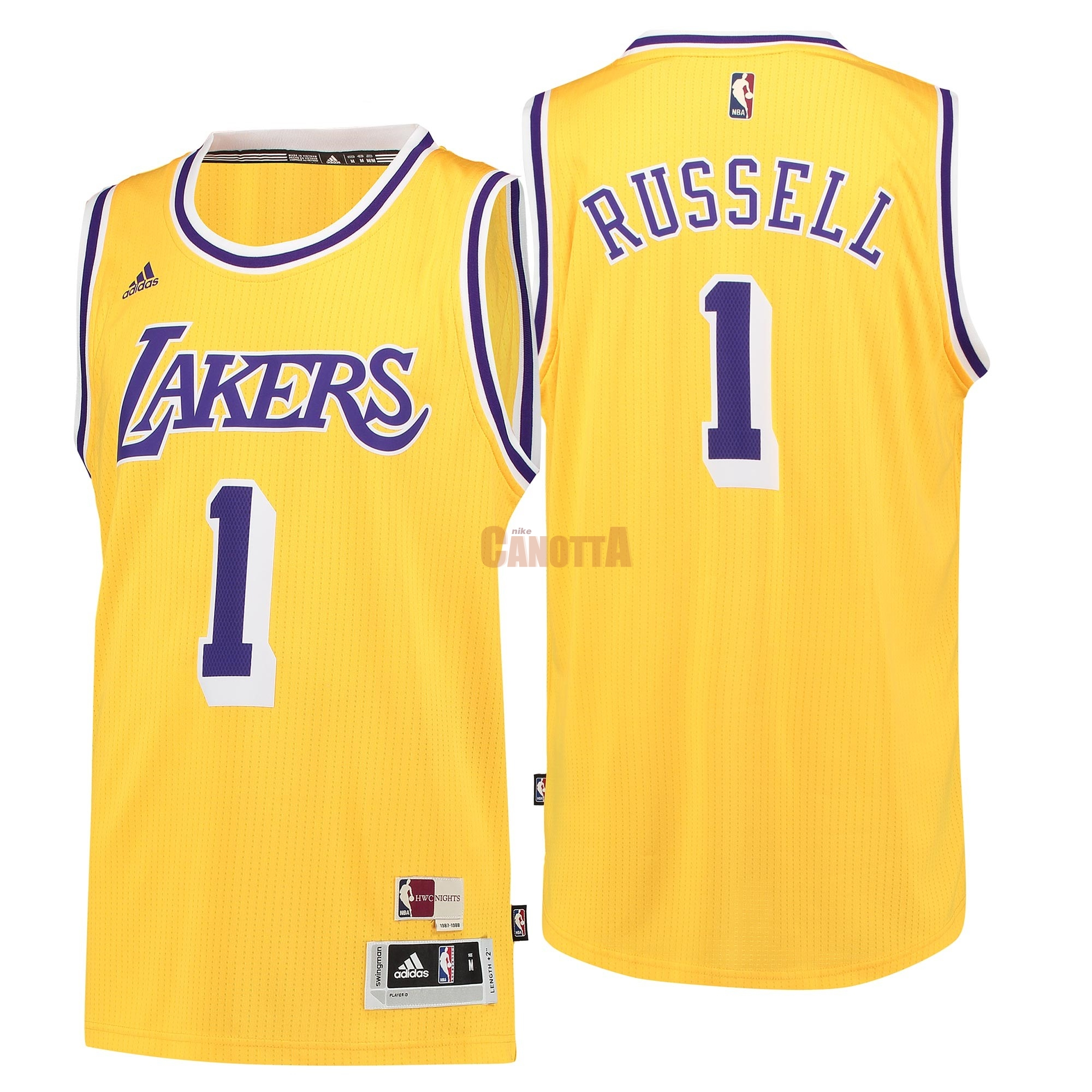 Replica Maglia NBA Los Angeles Lakers NO.1 D'Angelo Russell Retro Blu