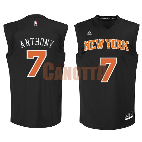 Replica Maglia NBA New York Knicks NO.7 Carmelo Anthony Nero Arancia