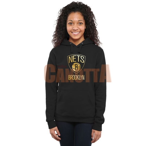 Replica Felpe Con Cappuccio NBA Donna Brooklyn Nets Nero Oro