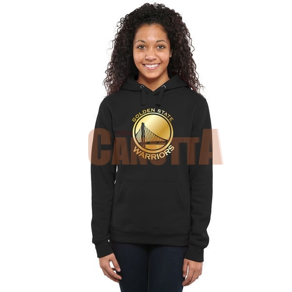 Replica Felpe Con Cappuccio NBA Donna Golden State Warriors Nero Or