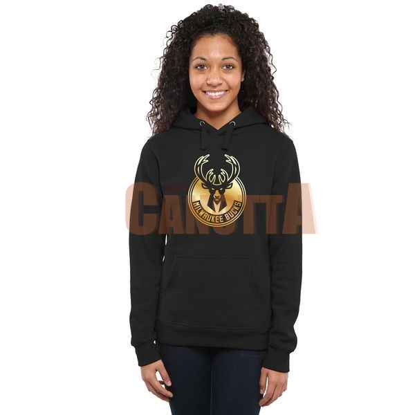 Replica Felpe Con Cappuccio NBA Donna Milwaukee Bucks Nero Oro