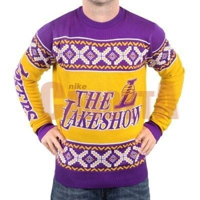 Replica Maglione Ugly Unisex Los Angeles Lakers Giallo Porpora