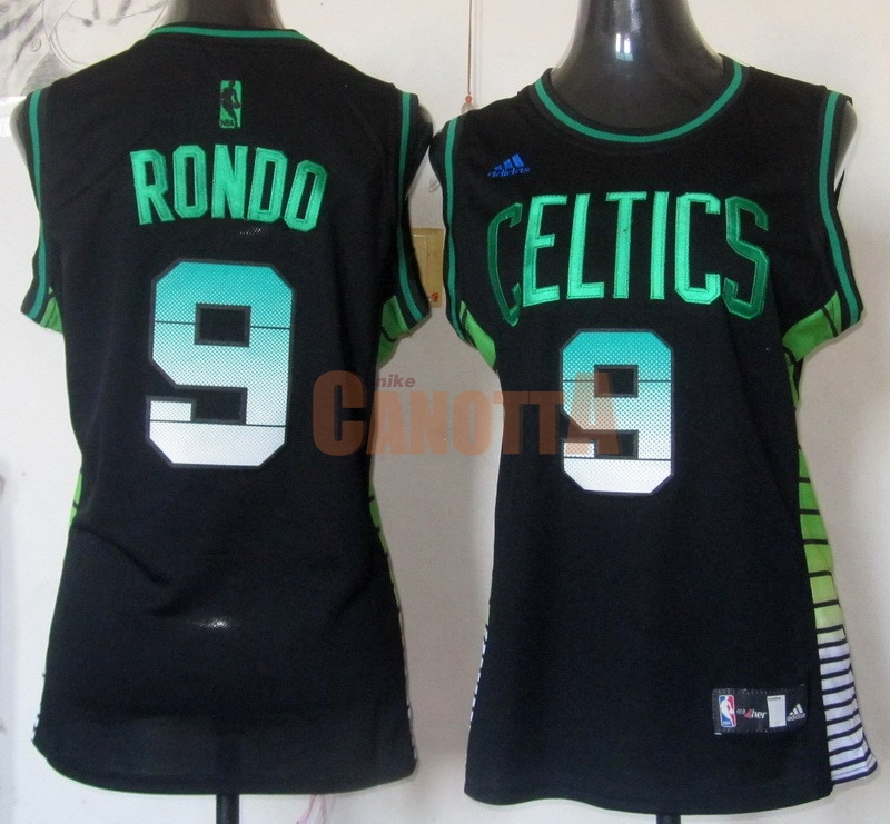 Replica Maglia NBA Donna Boston Celtics NO.9 Rajon Rondo Nero Verde