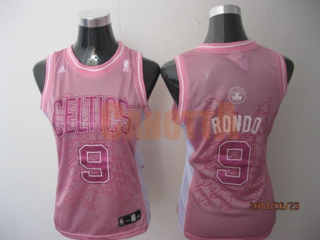 Replica Maglia NBA Donna Boston Celtics NO.9 Rajon Rondo Rose
