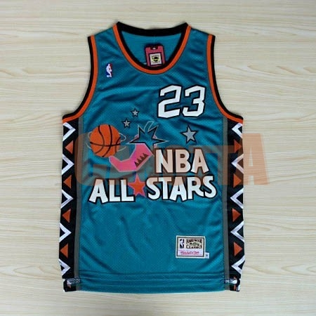 Replica Maglia NBA 1996 All Star NO.23 Michael Jordan Blu