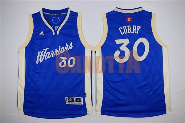 Replica Maglia NBA Bambino 2015 Natale Golden State Warriors NO.30 Stephen Curry Blu