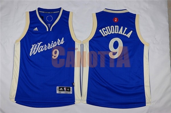 Replica Maglia NBA Bambino 2015 Natale Golden State Warriors NO.9 Andre Iguodala Blu