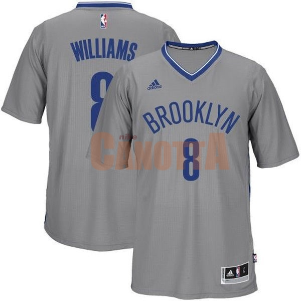 Replica Maglia NBA Brooklyn Nets Manica Corta No.8 Deron Michael Williams Grigio