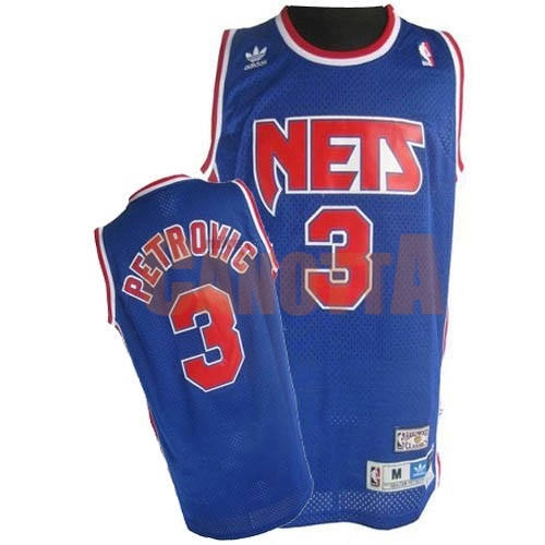Replica Maglia NBA Brooklyn Nets No.3 Drazen Petrovic Blu