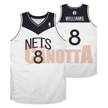 Replica Maglia NBA Brooklyn Nets No.8 Deron Michael Williams Bianco Nero