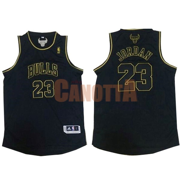 Replica Maglia NBA Chicago Bulls NO.23 Michael Jordan Nero Oro