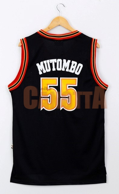 Replica Maglia NBA Denver Nuggets NO.55 Dikembe Mutombo Nero