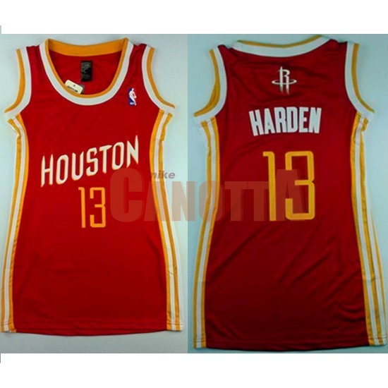 Replica Maglia NBA Donna Houston Rockets NO.13 James Harden Retro Rosso