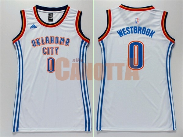 Replica Maglia NBA Donna Oklahoma City Thunder NO.0 Russell Westbrook Bianco