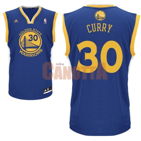 Replica Maglia NBA Golden State Warriors NO.30 Stephen Curry Blu