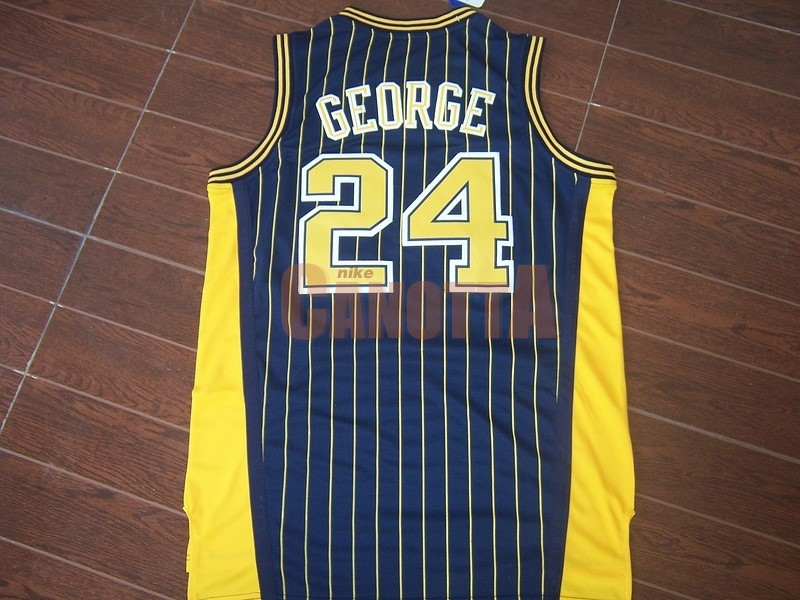 Replica Maglia NBA Indiana Pacers NO.24 Paul George Blu Striscia