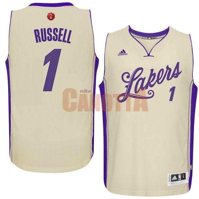 Replica Maglia NBA Los Angeles Lakers 2015 Natale NO.1 Russell Bianco