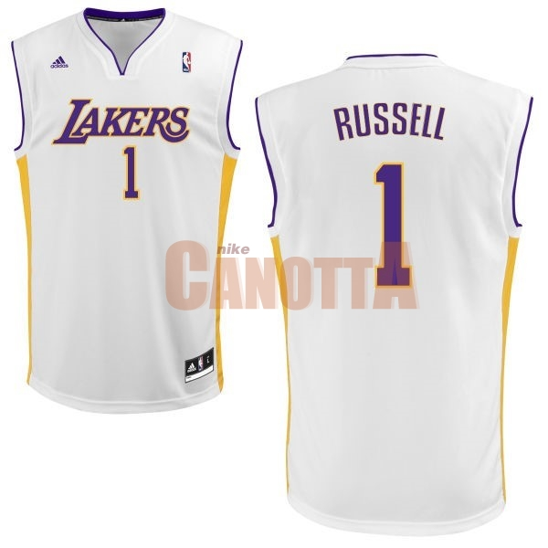 Replica Maglia NBA Los Angeles Lakers NO.1 D'Angelo Russell Bianco