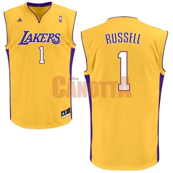 Replica Maglia NBA Los Angeles Lakers NO.1 D'Angelo Russell Giallo