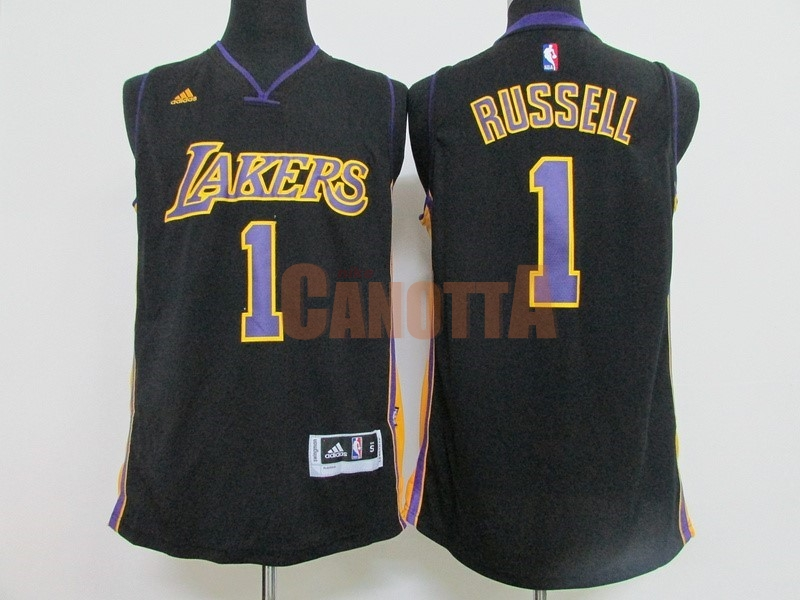 Replica Maglia NBA Los Angeles Lakers NO.1 D'Angelo Russell Nero