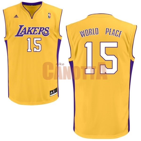 Replica Maglia NBA Los Angeles Lakers NO.15 Metta World Peace Giallo