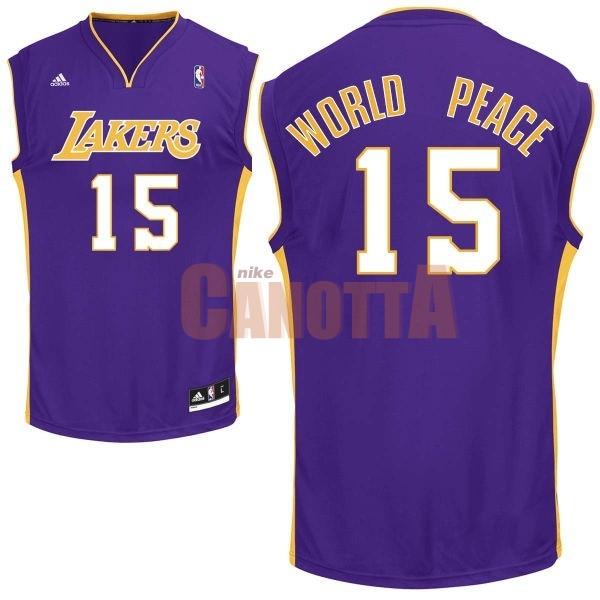 Replica Maglia NBA Los Angeles Lakers NO.15 Metta World Peace Porpora