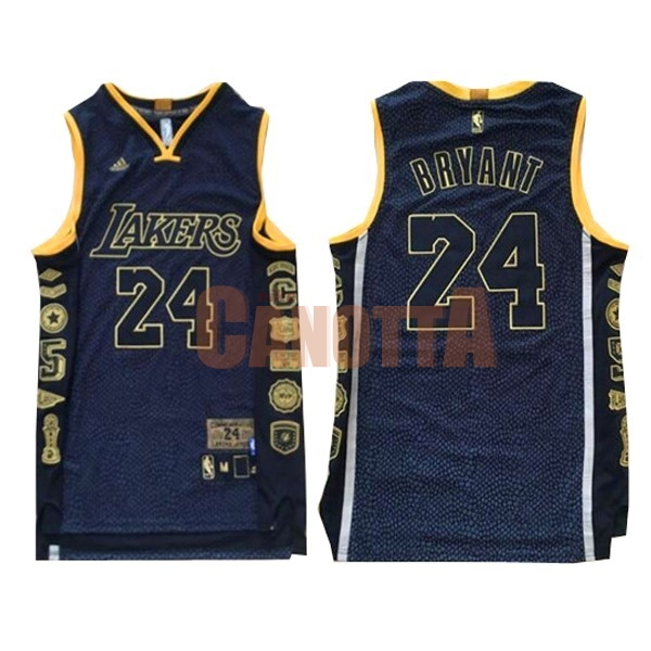 Replica Maglia NBA Los Angeles Lakers NO.24 Kobe Bryant 2016 Nero Serpentina