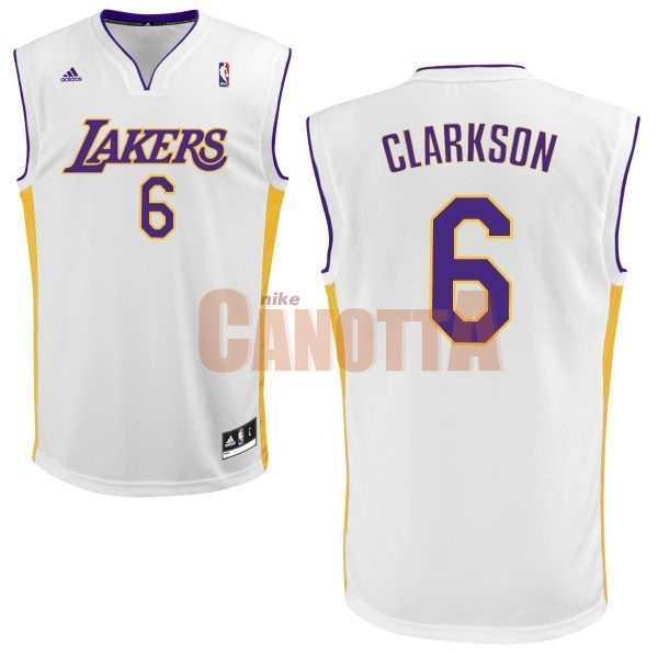 Replica Maglia NBA Los Angeles Lakers NO.6 Jordan Clarkson Bianco