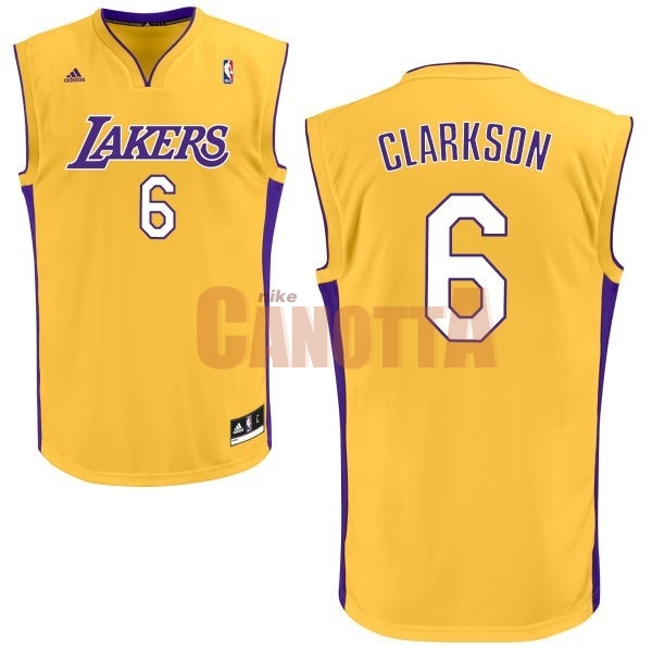 Replica Maglia NBA Los Angeles Lakers NO.6 Jordan Clarkson Giallo