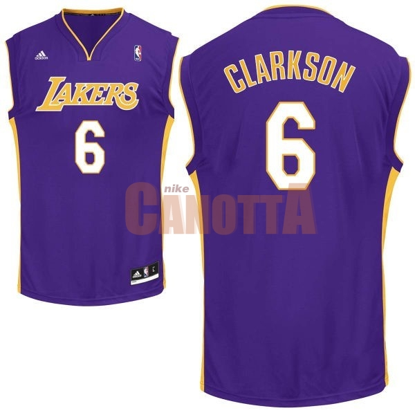 Replica Maglia NBA Los Angeles Lakers NO.6 Jordan Clarkson Porpora