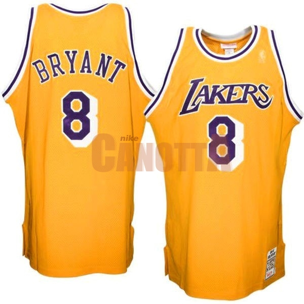 Replica Maglia NBA Los Angeles Lakers NO.8 Kobe Bryant Giallo