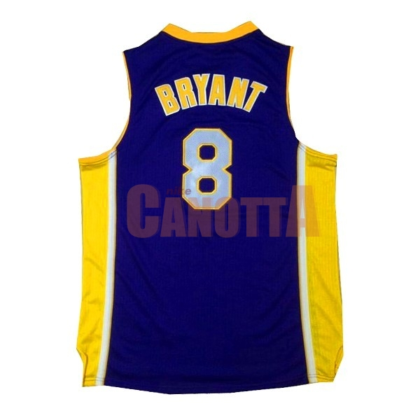 Replica Maglia NBA Los Angeles Lakers NO.8 Kobe Bryant Porpora Giallo
