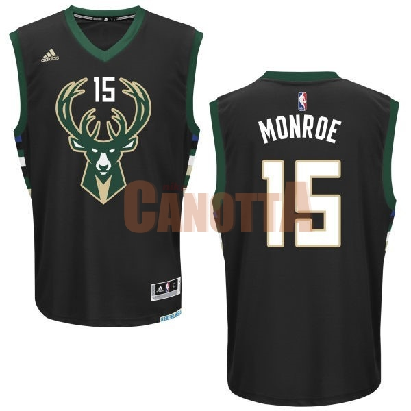 Replica Maglia NBA Milwaukee Bucks NO.15 Greg Monroe Nero