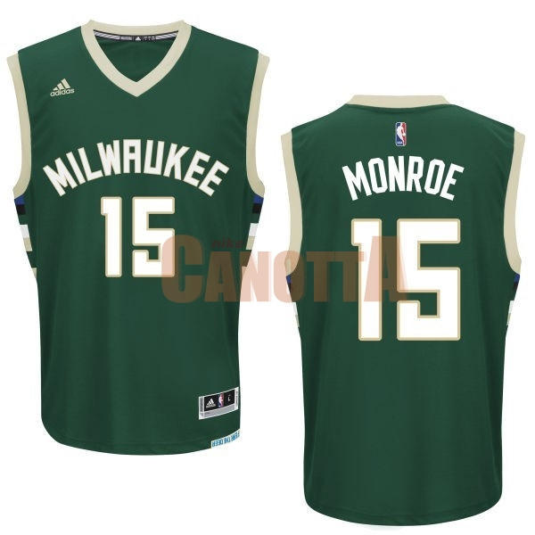 Replica Maglia NBA Milwaukee Bucks NO.15 Greg Monroe Verde
