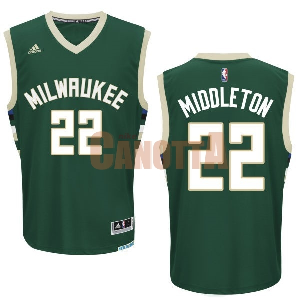 Replica Maglia NBA Milwaukee Bucks NO.22 Khris Middleton Verde