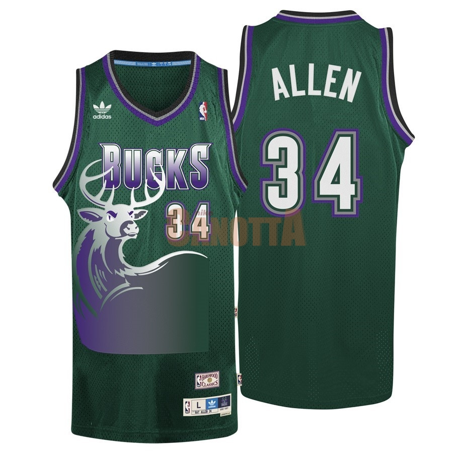 Replica Maglia NBA Milwaukee Bucks NO.34 Ray Allen Verde