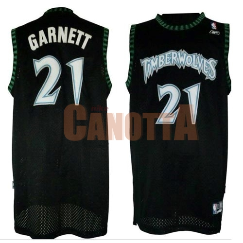 Replica Maglia NBA Minnesota Timberwolves NO.21 Kevin Garnett Retro Nero