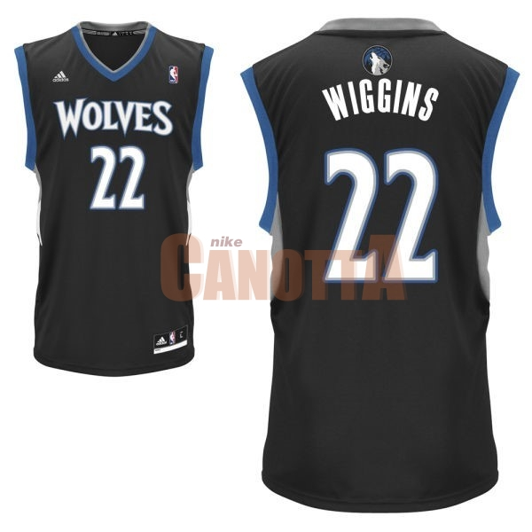 Replica Maglia NBA Minnesota Timberwolves NO.22 Andrew Wiggins Nero