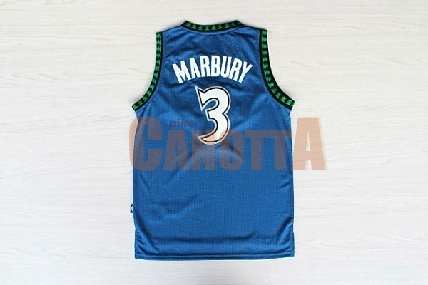 Replica Maglia NBA Minnesota Timberwolves NO.3 Stephon Marbury Retro Blu