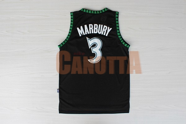 Replica Maglia NBA Minnesota Timberwolves NO.3 Stephon Marbury Retro Nero