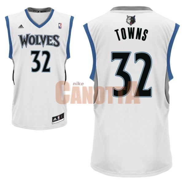 Replica Maglia NBA Minnesota Timberwolves NO.32 Karl Anthony Towns Bianco