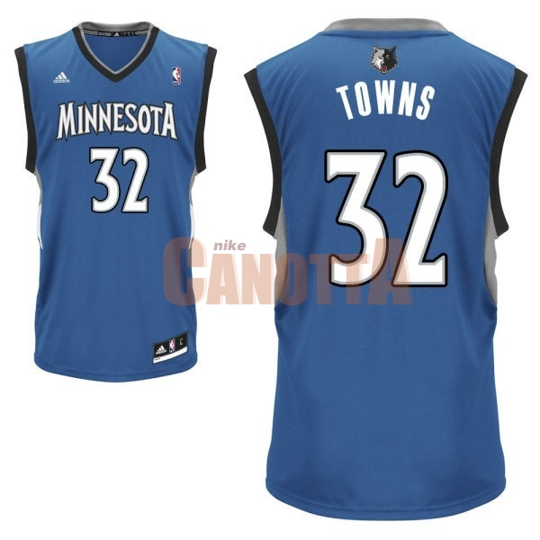 Replica Maglia NBA Minnesota Timberwolves NO.32 Karl Anthony Towns Blu