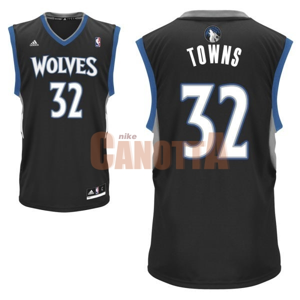 Replica Maglia NBA Minnesota Timberwolves NO.32 Karl Anthony Towns Nero
